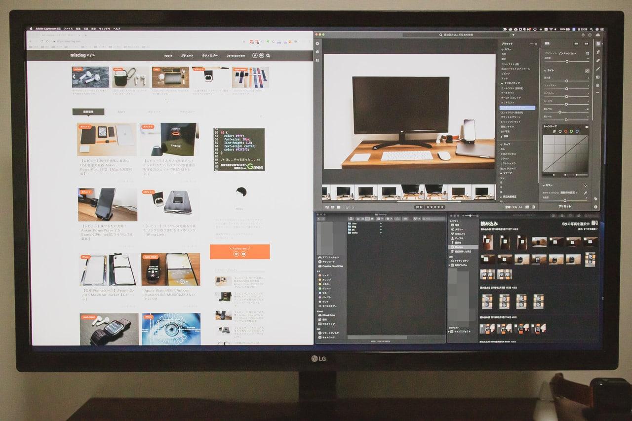 MacBook Proにおすすめな外付けモニタ LG 27UD58-Bは作業領域が広がる