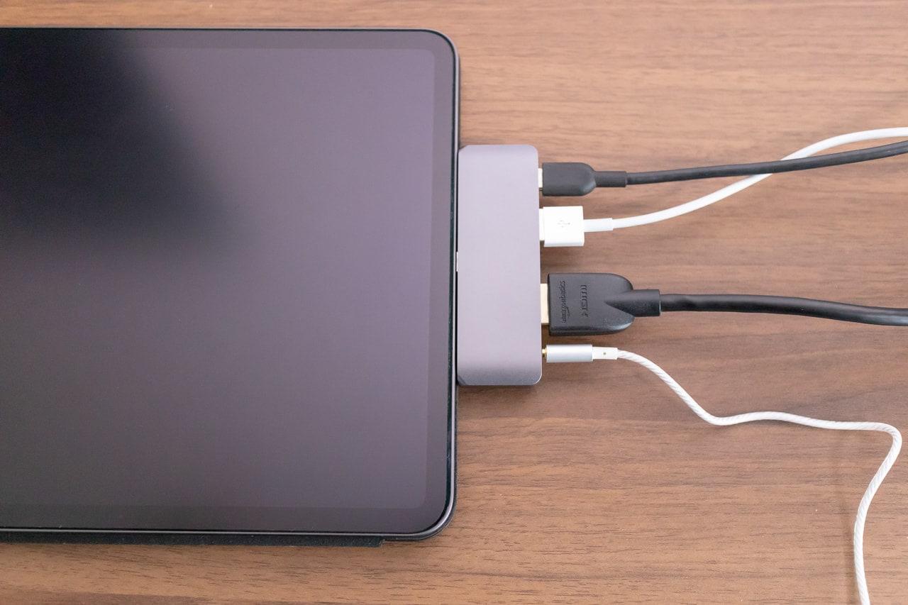 iPad Proに特化した「Satechi アルミニウム Type-C モバイル Proハブ」に全て接続
