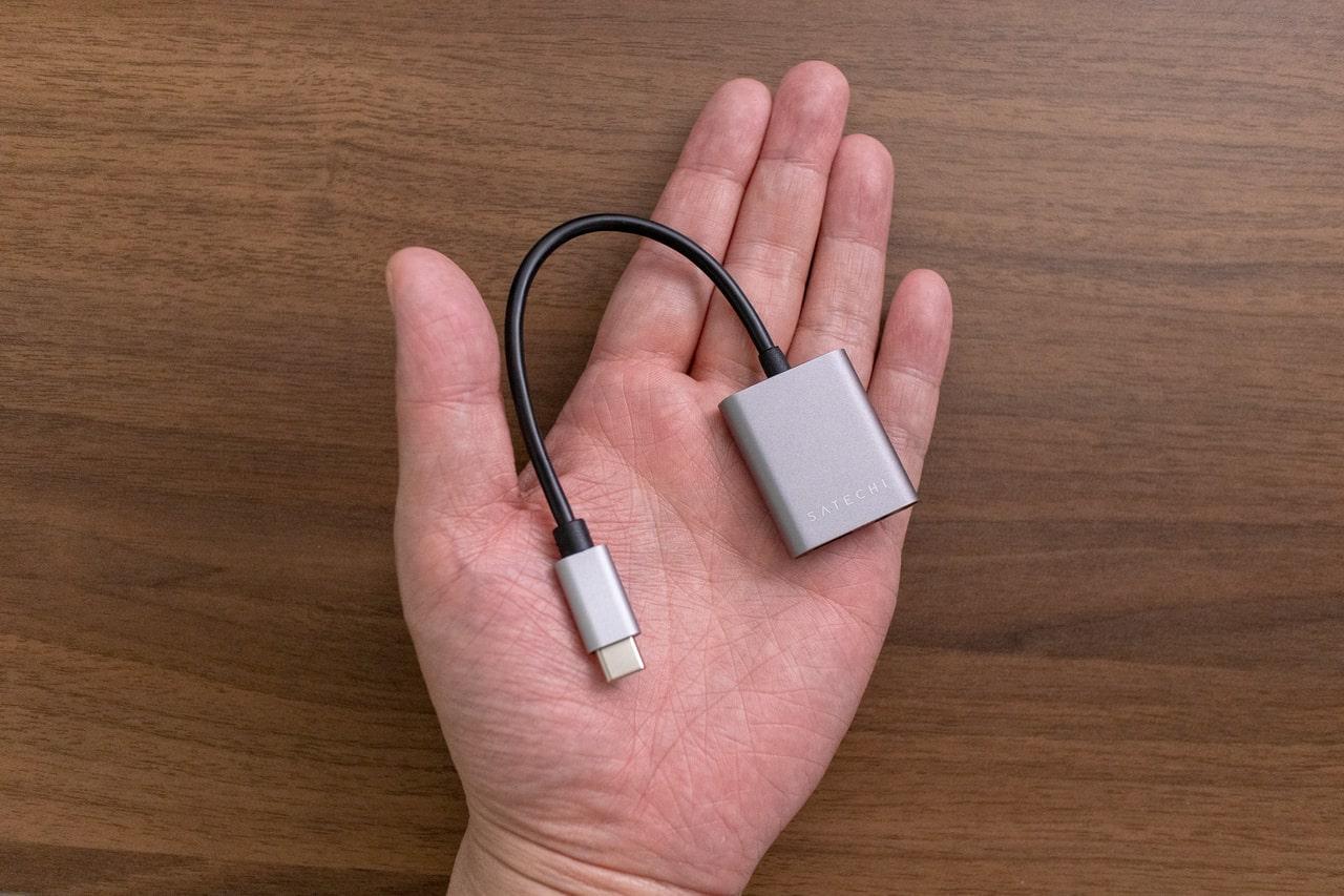 Satechi Type-C to 3.5mm オーディオヘッドホンジャック アダプタはコンパクト
