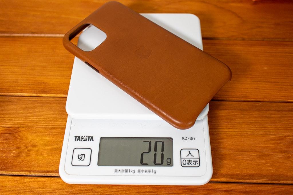 Apple純正 iPhone 11 Proレザーケースは約20g