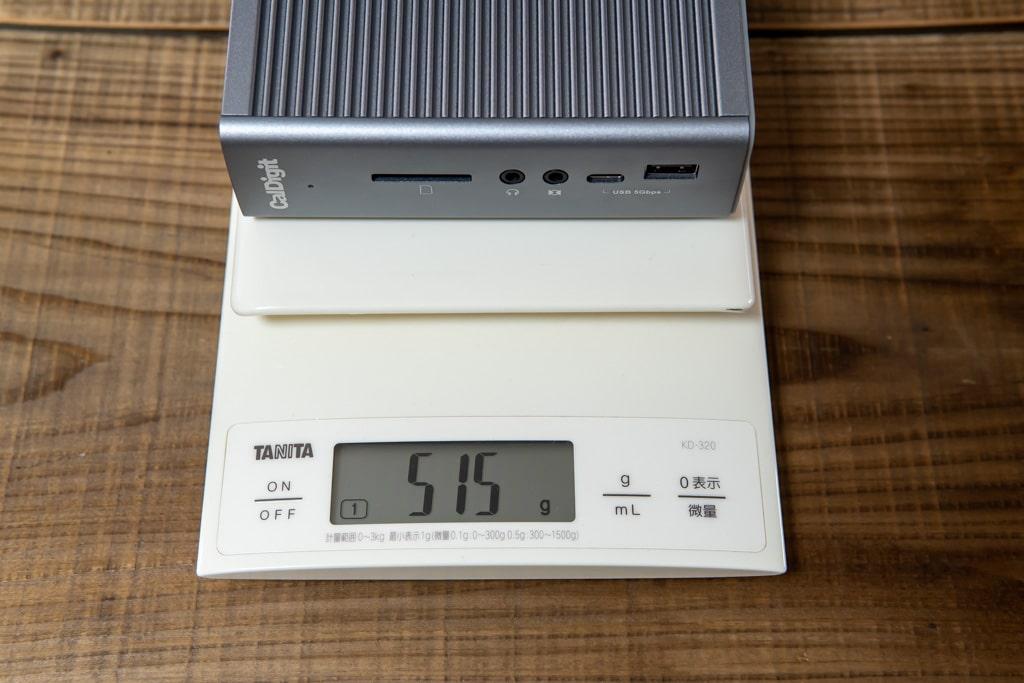 CalDigit TS3 Plusの重量は約515g