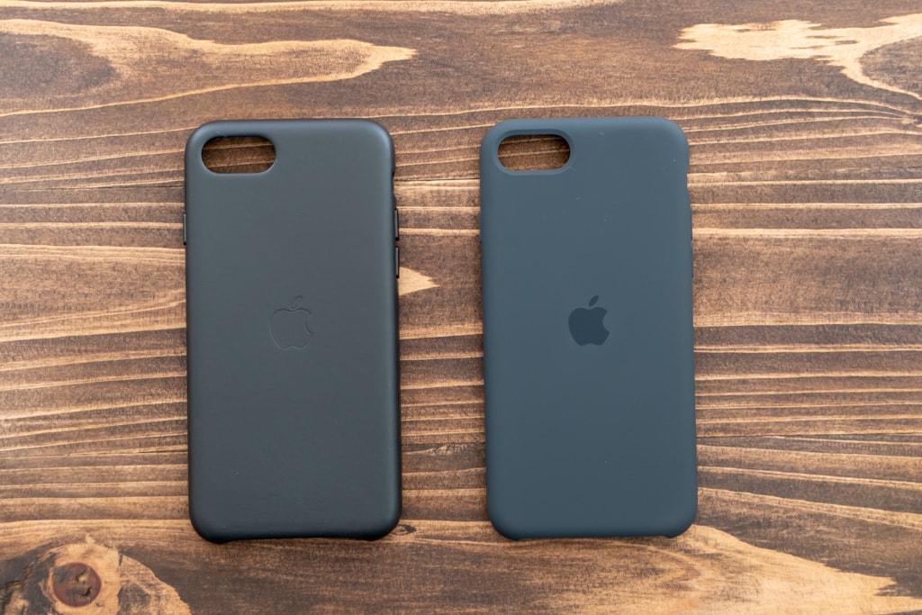 Apple純正iPhone SE 第2世代用レザーケースとシリコンケースの外観