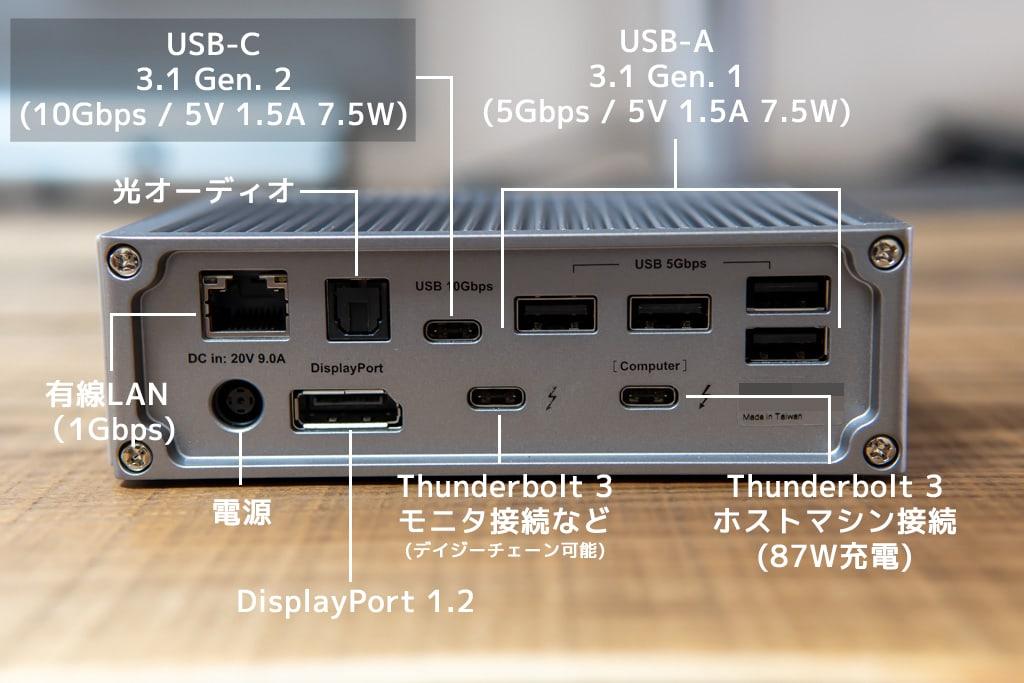 最強のドッキングステーションCalDigit TS3 Plusの背面ポート