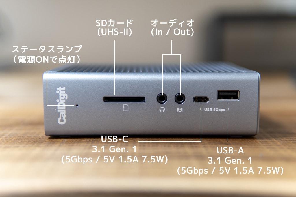 CalDigit TS3 Plusの前面ポート