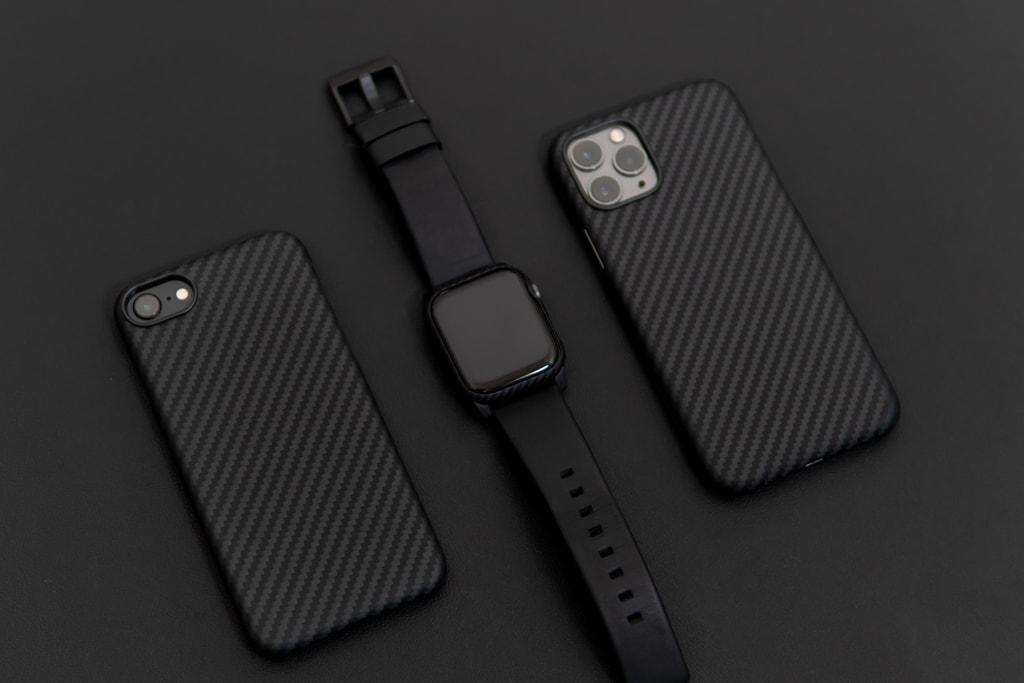 アラミド繊維のiPhone SEとiPhone 11 ProとApple Watch
