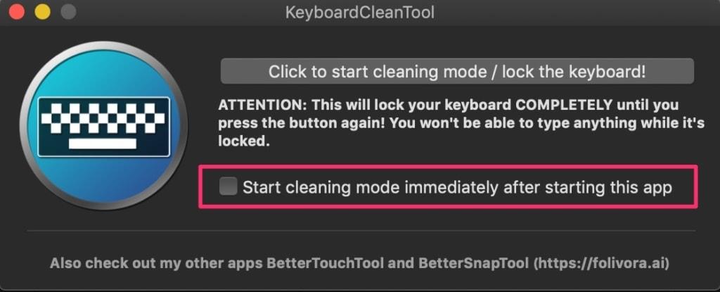 チェックをつけておけばアプリ起動でキーボード無効化