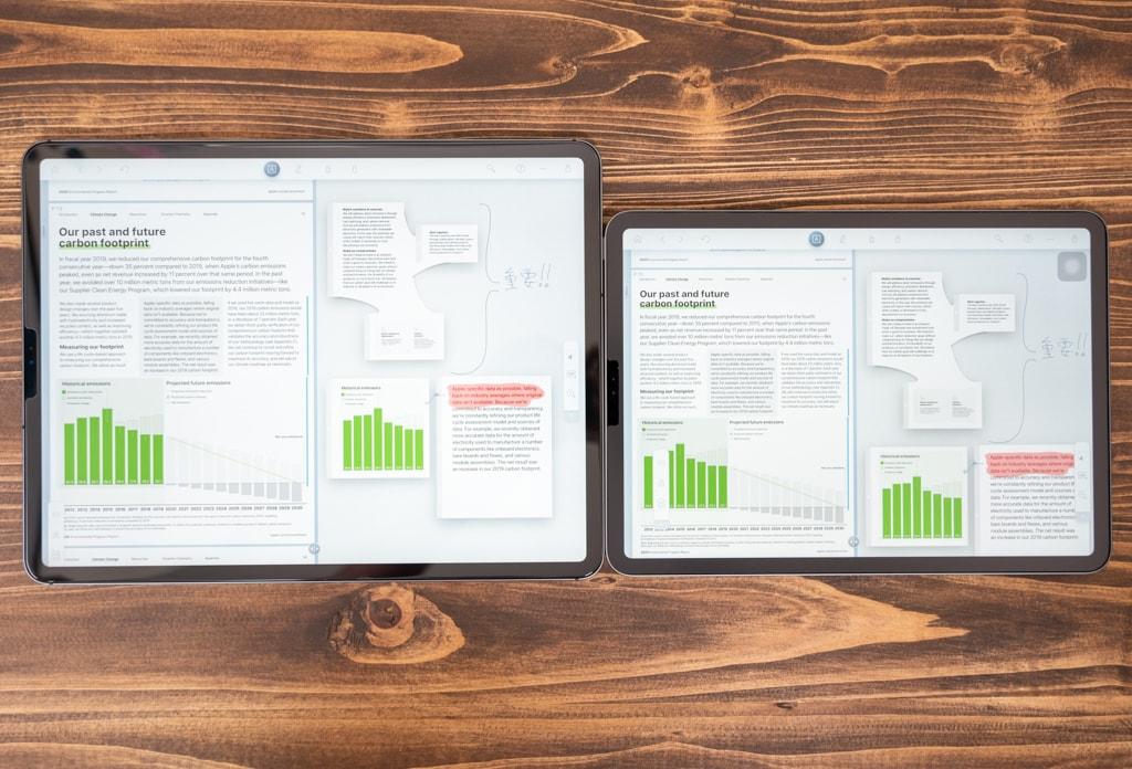 iPad Pro 12.9インチとiPad Pro 11インチでLiquid Textを使っている比較