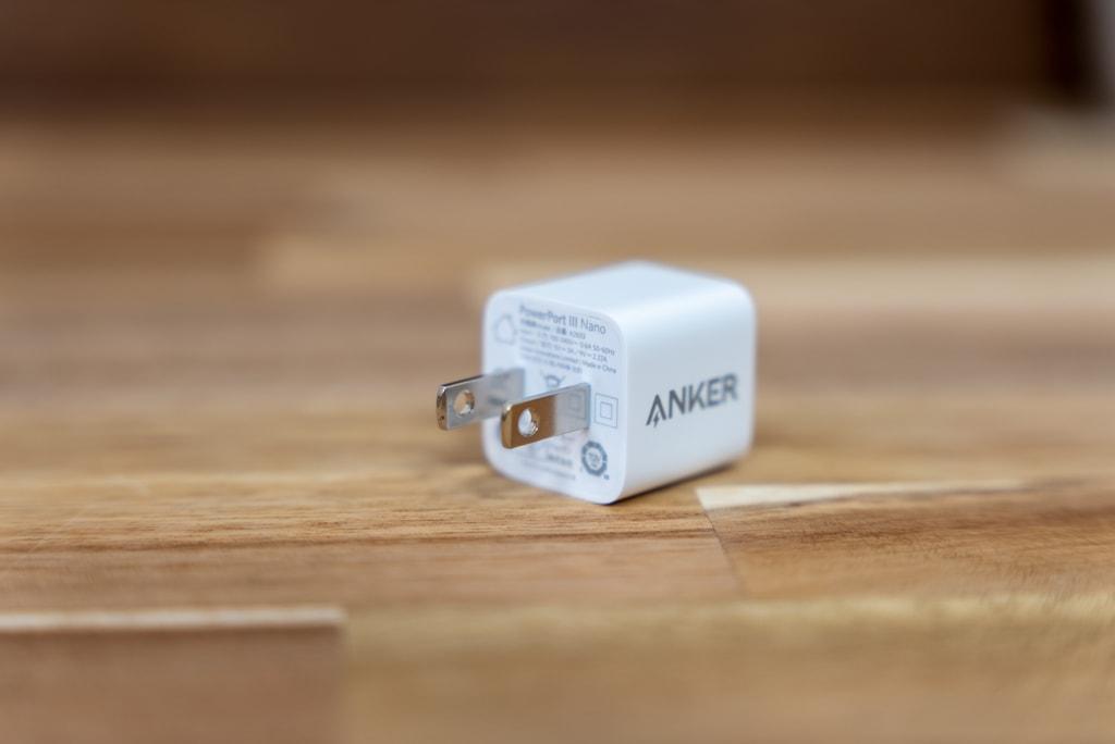 Anker PowerPort III Nano 20Wはプラグが折り畳めない