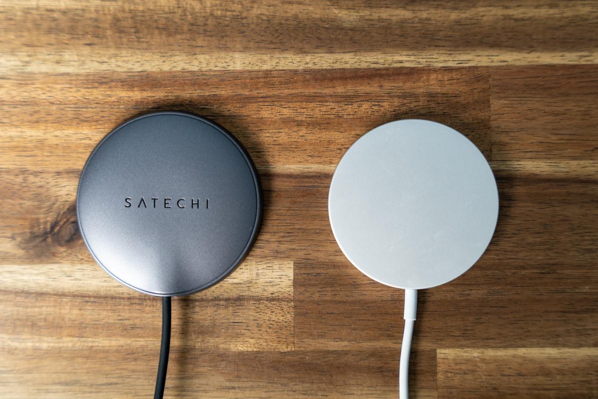 Satechi USB-C マグネティックワイヤレス充電ケーブルとApple純正MagSafe充電器
