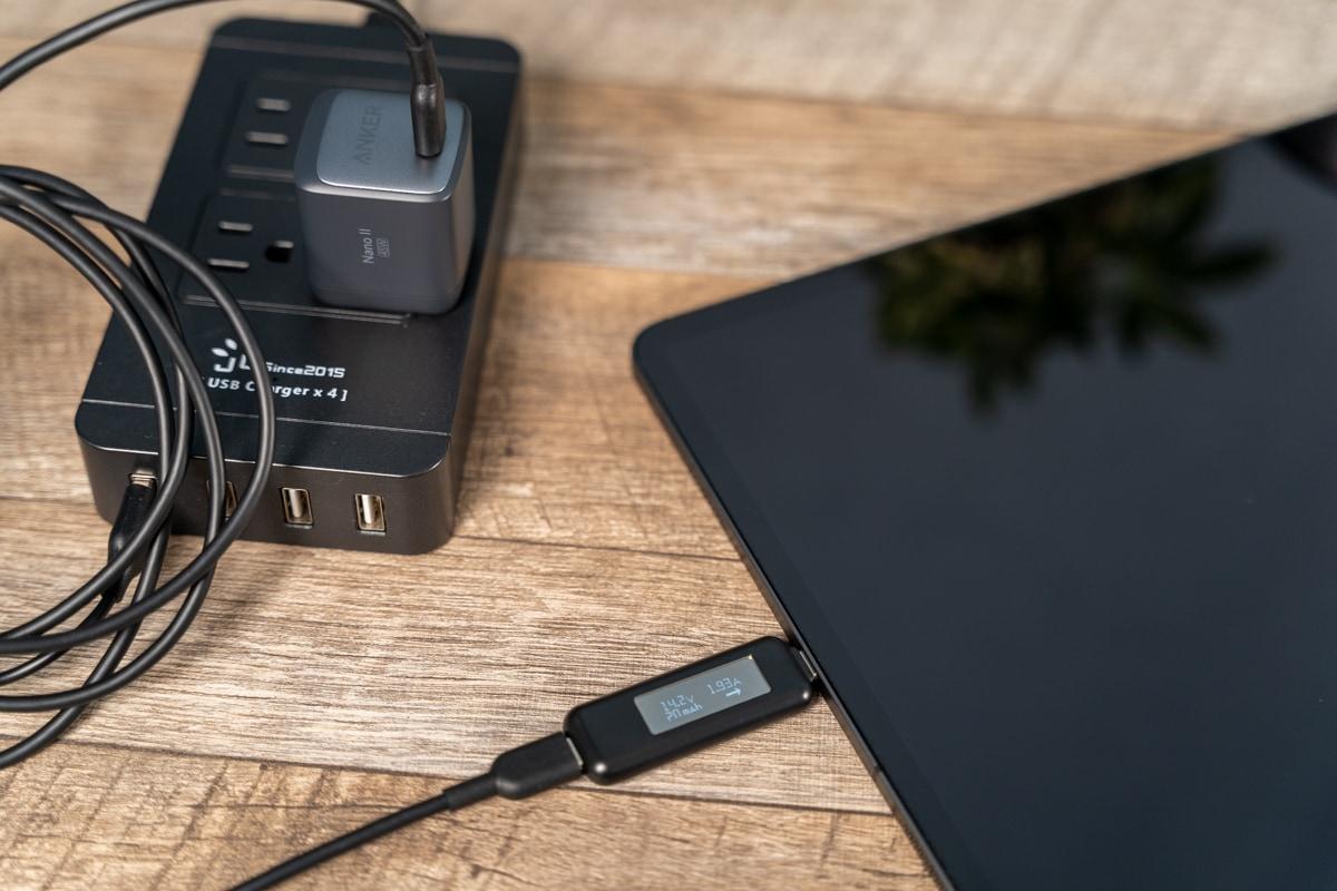 Anker Nano II 45WでiPad Pro 12.9インチを充電
