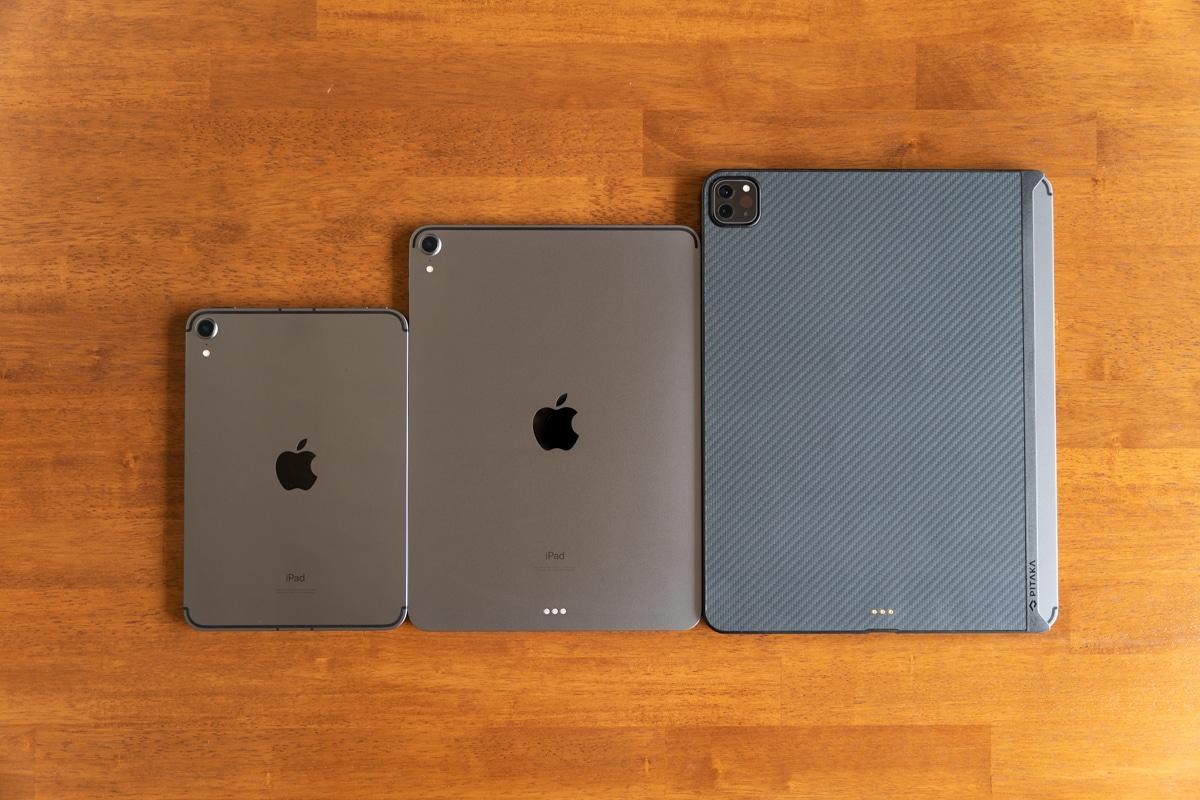 iPad mini 6とiPad Pro 11インチと12.9インチのサイズ比較